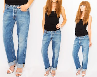 VTG 501 High Waisted Levi's  Jeans •Levis  button entryTapered Leg • xs small / 30 x 34   Fits 28 / 29 / 30