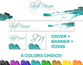 Fashion Modern Ink Banner Cover Icon Etsy Shop Design - Paint Contemporary Drops Colors Choice - Premade Graphic