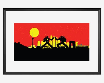 Beijing Skyline print, Robots print, 北京市 Peking Skyline, Beijing China, Beijing print, Beijing art, Beijing poster, robots nursery, pop art