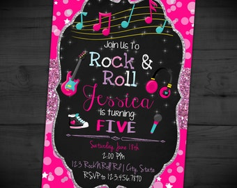 Rock N Roll Birthday Invitation - Rock Star Party Invite - Chalkboard - Glitter - Printable or Printed - SHIPPING INCLUDED - 4x6