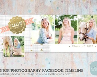 Senior Facebook Timeline for Graduation-Photoshop Template -  HG010 - INSTANT DOWNLOAD