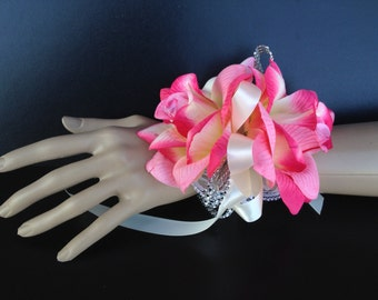 Wrist Corsage: Shades of Pink and Ivory Rose Corsage