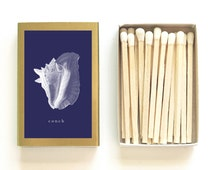 Conch Shell Matchbox - Nautical Illustration Matches - Beach Wedding Favor - Navy Blue and Gold - Beachcombing - Light a Nautical Spark