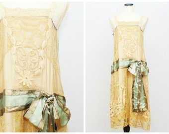 1920s Silk and Lace Flapper Dress - Vintage 20s Yellow Flapper Girl Dress
