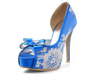 Lady Catherine Custom Made Lace Peep Toe Pumps, Cobalt Blue Lace Pumps, Cobalt Blue Platform Pumps, Cobalt Blue Wedding Heels