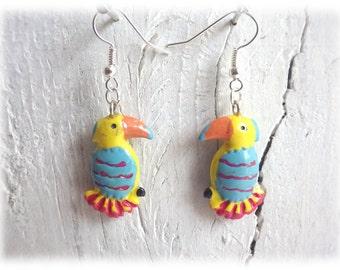 Earrings -parrot - earrings with bird pendant Silver
