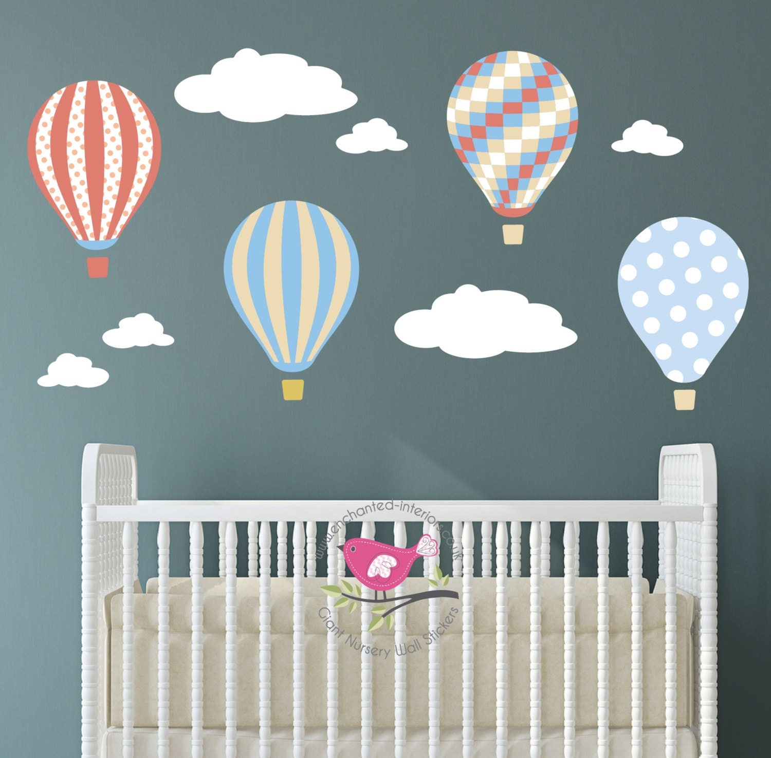 Kids Wall Decal Hot Air Balloons Baby Decor Gender Neutral