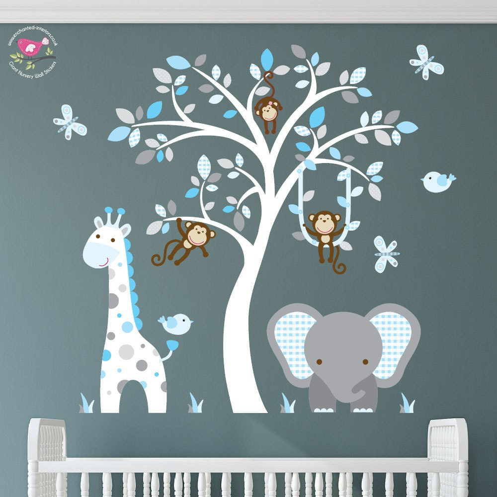 Jungle Decal Aqua Blue And Grey Nursery Swinging Monkey