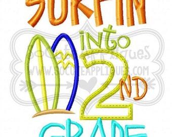 Surfin into 2nd grade! Embroidered Shirt/Onesie/Burp Cloth/Hand Towel!
