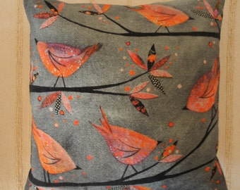 Bird on Grey cushion