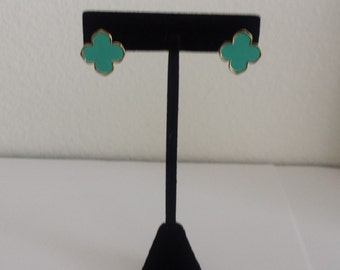 VERY HIGH QUALITY  Turquoise Clover Stud Earrings,gift her for,four leaf clover,Mother's day gift