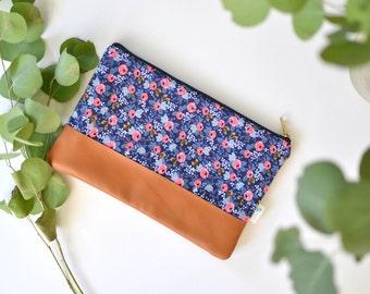 Navy Floral Clutch, Rifle Paper Co, Cognac Leather Clutch Purse, Gift for her, Blue Floral Clutch, Rifle Fabric Zipper Clutch Bag Navy Purse