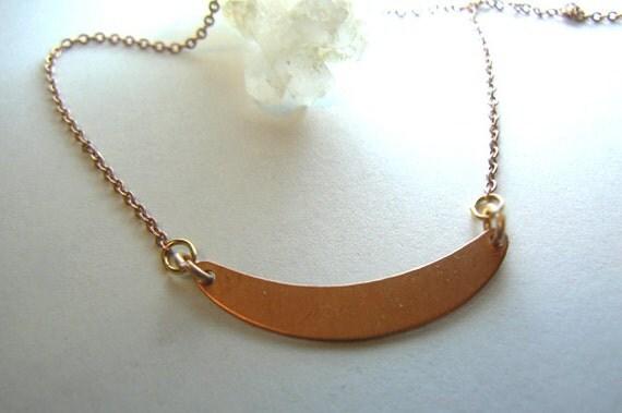 Copper brass pendant- Curved plate rose gold plated chain- Boho minimalist layered jewelry- Geometric brass women jewelry