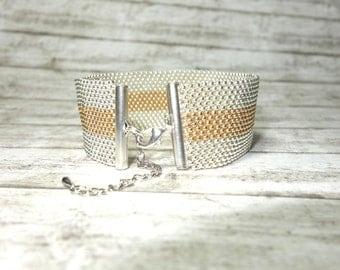 Peyotearmband pearl bracelet bracelet silver gold color bicolor