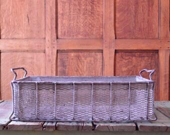 Vintage Expanded Metal Basket, Large Industrial Basket, Vintage Industrial Metal Basket