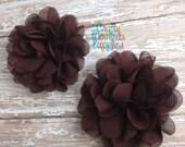 "ON SALE Cappuccino Brown Chiffon Flowers, 3"", Petal, Set of 2, Craft Supplies, Baby Headband, Infant Headband, Hair bows, DIY Weddings, Whol"