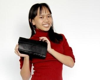 Sale 20% Clutch purse in black , Leather wallet women , Women wallet