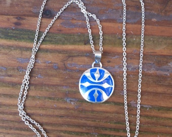 vintage sterling silver and blue enamel pendant and chain