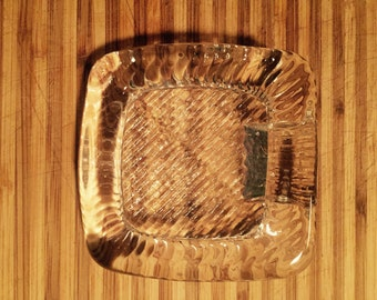Clear Glass slant textured ashtray