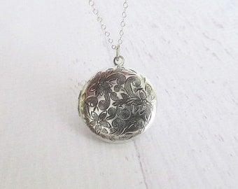 Silver Locket Necklace, Floral Locket Necklace