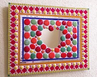 mozaiek spiegel, mozaieke spiegel, decoratieve spiegel, kunstobject, wandspiegel, Mozaïk Mosaics mosaic mirror artobject art object