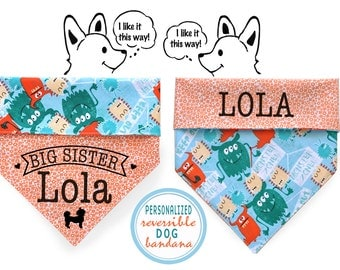 Personalized Stylish Reversible Dog Bandana- Baby Announcement