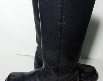 Frye 77050 Campus Black Leather Motorcycle Riding Boots Women's Size 8