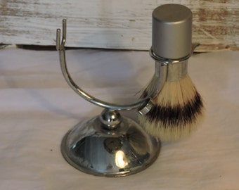 Vintage Shaving Stand - French Chrome Shaving Stand With Shaving Brush