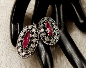 Pretty Vintage Red Marquise Cut and AB Rhinestone Earrings