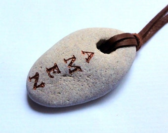 Natural Holey Engraved Beach Stone Sea Rock Necklace Pendant  Natural Leather Cord Unisex men/women  Jewelry Jewellery Amen