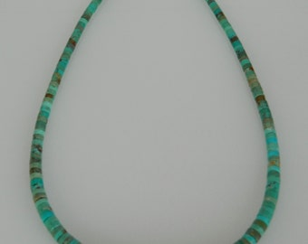 """Native American Navajo Graduated Green Turquoise Heishi Sterling Silver Bead Necklace 17 34"""""""