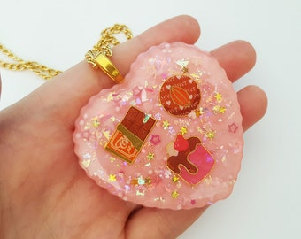 Chocolate Treats resin necklace - pink glitter with chocolate sweets and candy