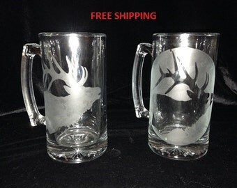 Custom etched glass mug