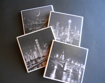 City Skylines ~ Chicago Skyline ~ New York Skyline ~ Ceramic Tile Coasters ~ Seattle Skyline ~ Cool Coasters ~ Drink Coasters ~ Home Decor