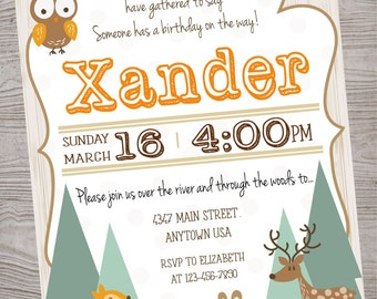 Woodland / Forest animal  Birthday Party Baby Shower invitation printable