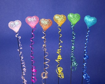 Colorful Shimmering Miniature Heart Balloons for your Dollhouse