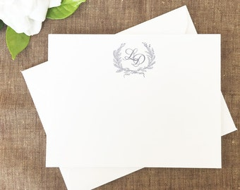 Laurel Wreath Monogram Classic Style Thank You Notes Set of 25 Cards