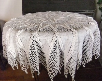 Hand Crocheted Round Table Topper, White Cotton Yarn