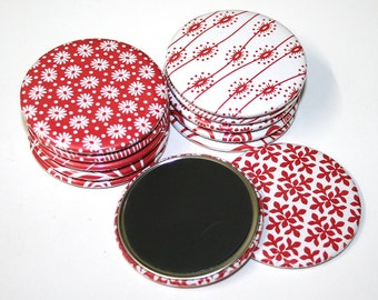 Stylish Red & White Pattern Fridge Magnets - Set of 12