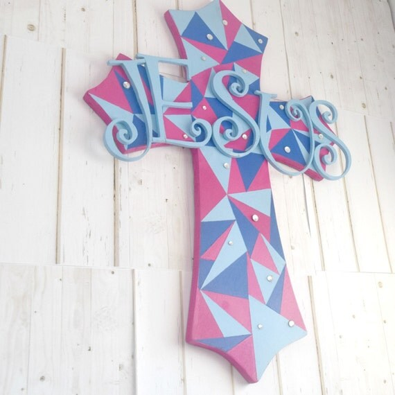 Pink crosses wall decor : Items similar to geometric cross wall decor with pink and