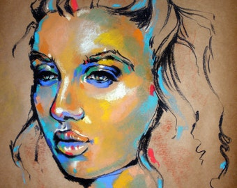 Hera- Colorful pastel on packing paper portrait of a woman
