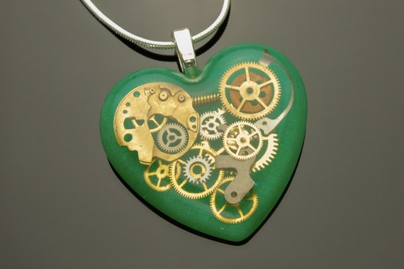 Steampunk Green Heart Pendant / Necklace Watch Parts, Cogs, Gears in Resin, Sterling Silver Chain