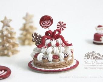 Gingerbread Man Lollipop Christmas Tree Cream Tower St. Honoré cake in 1/12th miniature dollhouse Christmas Cake