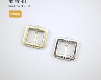20mm Solid Brass Strap Buckles Nickel Finish Belt Seiwa Japan LeatherMob Leathercraft Leather