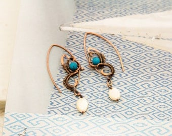 Blue Butterfly wings hoop earrings tribal ethnic nature jewelry bohemian earrings boho style wirewrapped copper jewellery inspired by nature