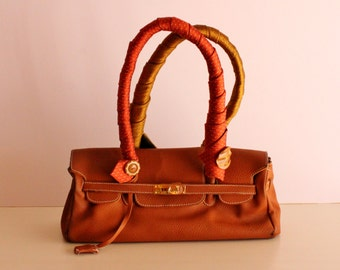 90's Orange Leather Tote bag with Vintage Tie Handles and Buttons