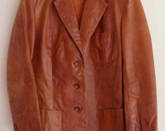 Sale, Vintage Fitted Leather Blazer, Size 8