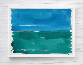 Abstract Painting, Original Watercolor Painting, Abstract Landscape, Watercolor Landscape, Wall Art, Green Blue Art, 12x16 Watercolor