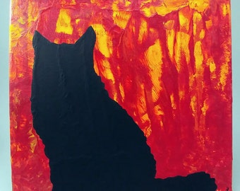 Black Cat Silhouette Acrylic Painting on 10x10 Canvas