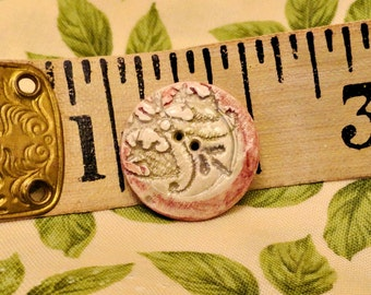 201:  Handmade Ceramic Button With Fleur de Lis Motif